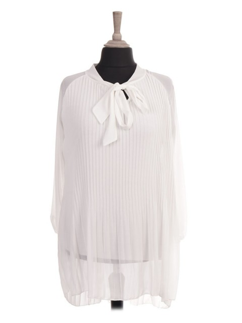 Italian Two Layered Pleated Dip Hem Top