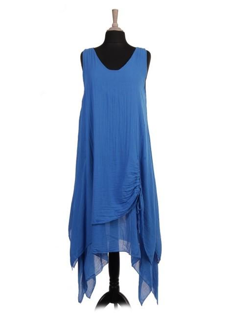 Italian Two Layered Ruched Hem Dress