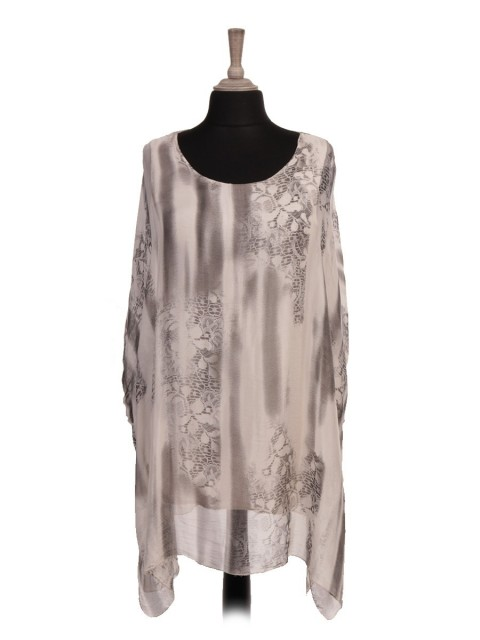 Italian Two Layered Snake Skin Print Batwing Silk Tunic Top
