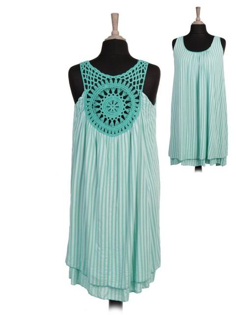 Italian Two Layered Stripy Print Crochet Back Dress