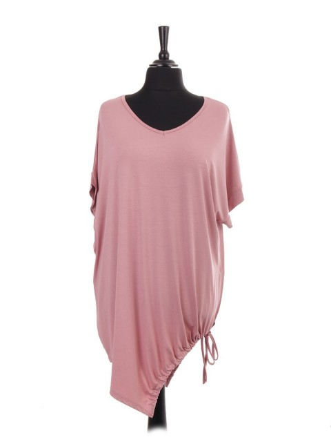 Italian V-neck Asymmetric Gathered Hem Jersey Batwing Top