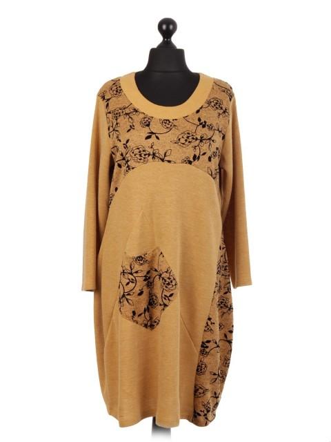 Italian Velour Flower Embossed Lagenlook Dress