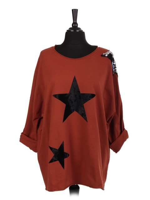 Italian Velvet And Sequin Star Patch Top