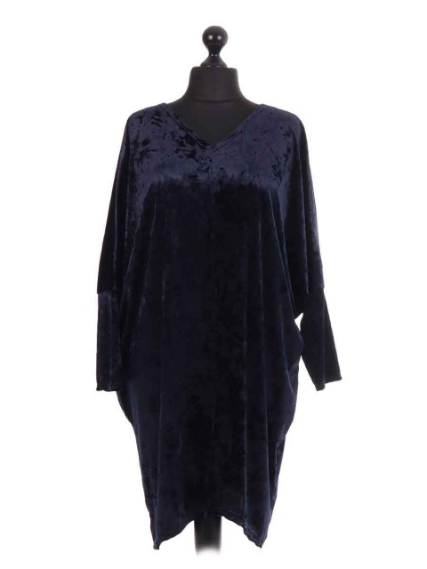 Italian Velvet Long Sleeve Batwing Cocktail Dress