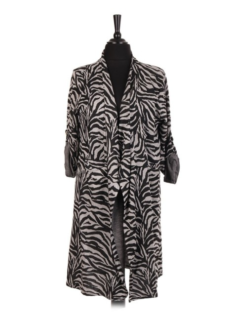 Italian Animal Print Waterfall Cardigan With Front Pockets