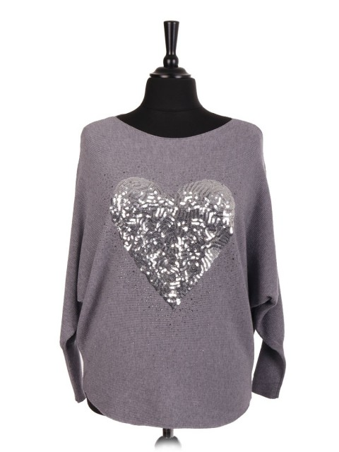 Italian Heart Sequin And Diamante Batwing Jumper
