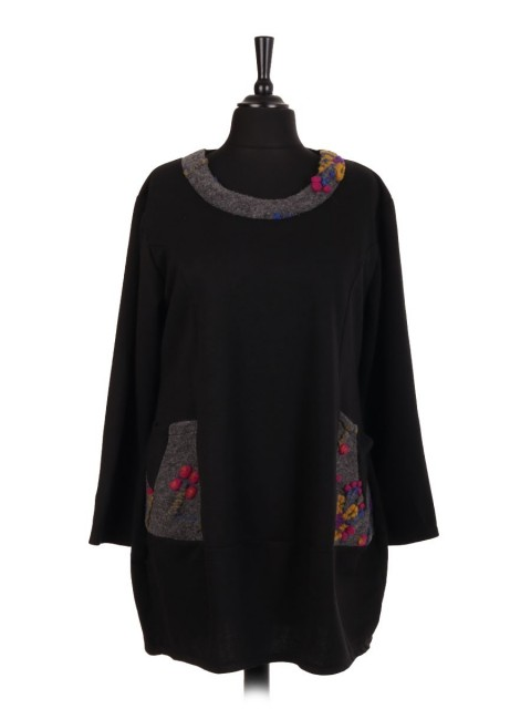 Italian Lana Wool Mix Top With Boiled Wool Neck Detail And Front Pockets