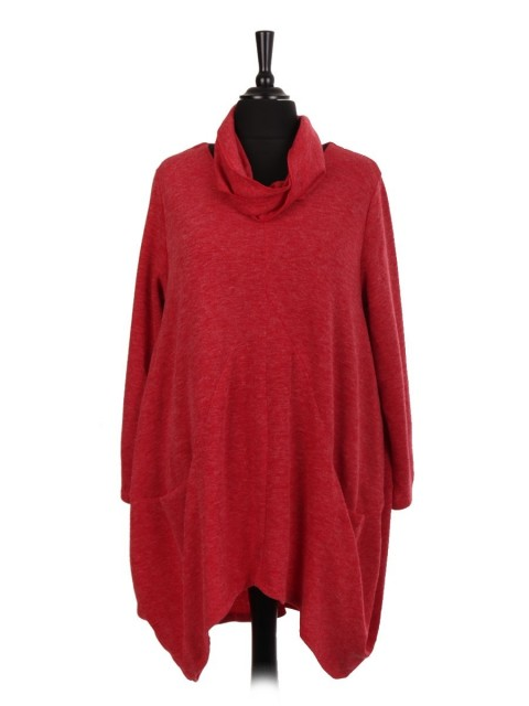 Italian Wool Mix Lagenlook Top With Front Pockets And Scarf