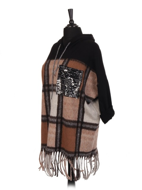 Italian Wool Tartan Hooded Jumper With Sequin Pocket And Fringe Hem