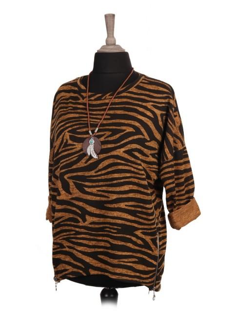 Italian Zebra Print Dip Hem Batwing Top With Necklace