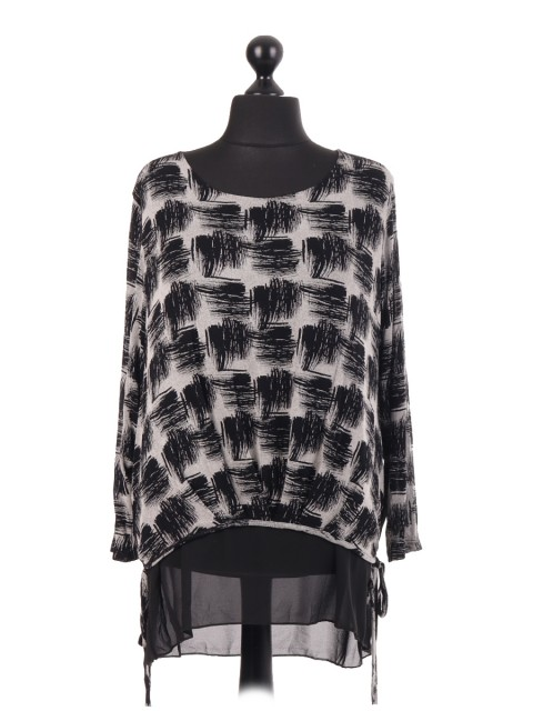 Jersey Black Square Printed Chiffon Lined Top