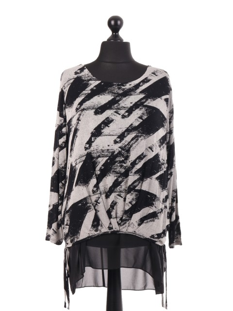 Jersey Splash Printed Chiffon Lined Top