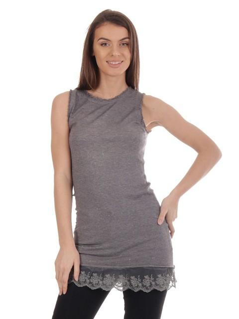 Ladies lace Hem Long Vest Top