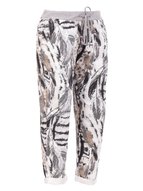 Large Italian Feather Print Trouser