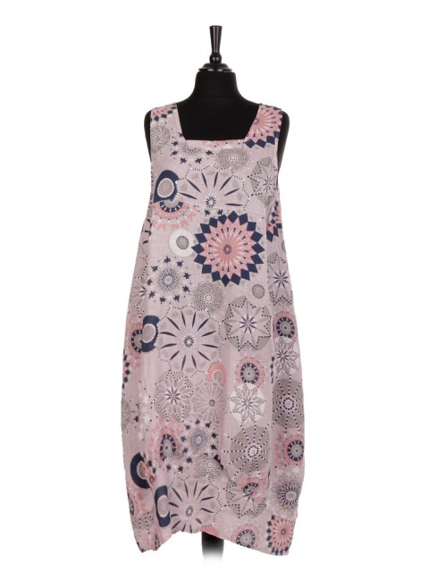 Italian Aztec Print Sleeveless Square Neck Linen Lagenlook Dress