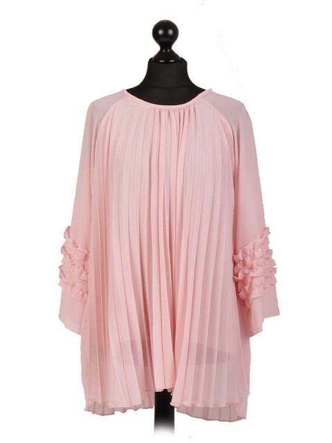 Italian Long Pleated Ruffled Sleeve Blouse