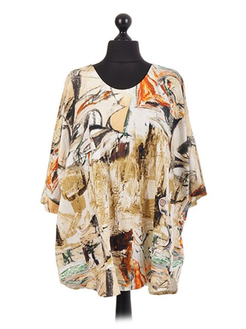 Italian Abstarct Print Batwing Pocket Tunic