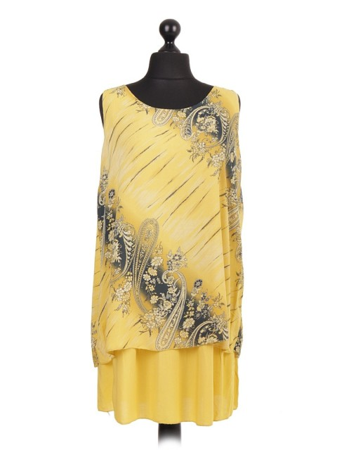 Italian Cotton Two Layered Printed Sleeveless Top