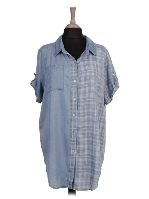 Italian Plaid Front Button Panel Chambray Shirt Dress