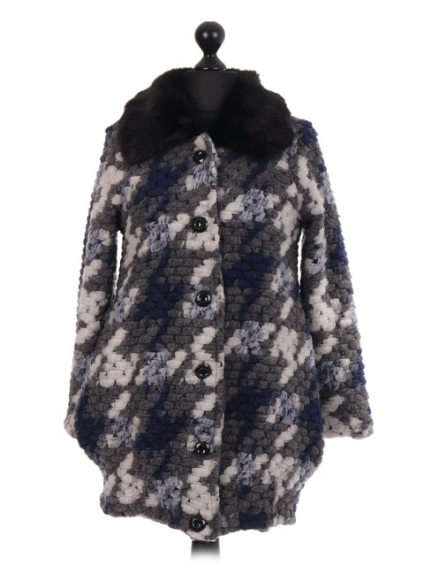 Italian Dogs Tooth Pattern Fur Collar Coat With Buttons