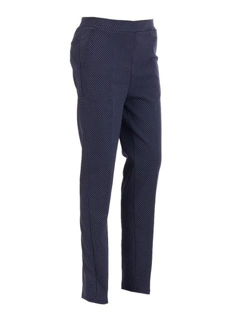 Elaticated Geo Print Stretch Peg Leg Smart Trousers