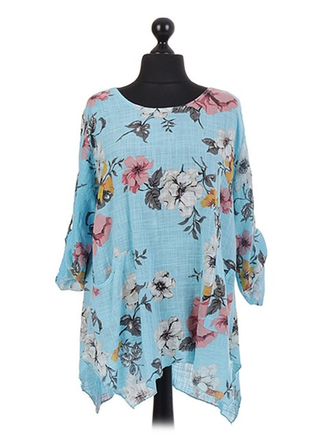 Italian Floral Asymmetrical Hem Oversized Tunic Top
