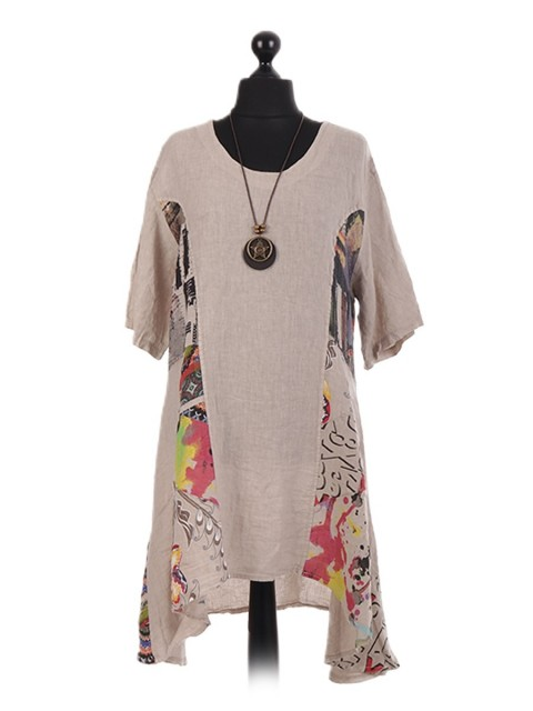 Italian Floral Panel Oversized Waterfall Necklace Dress