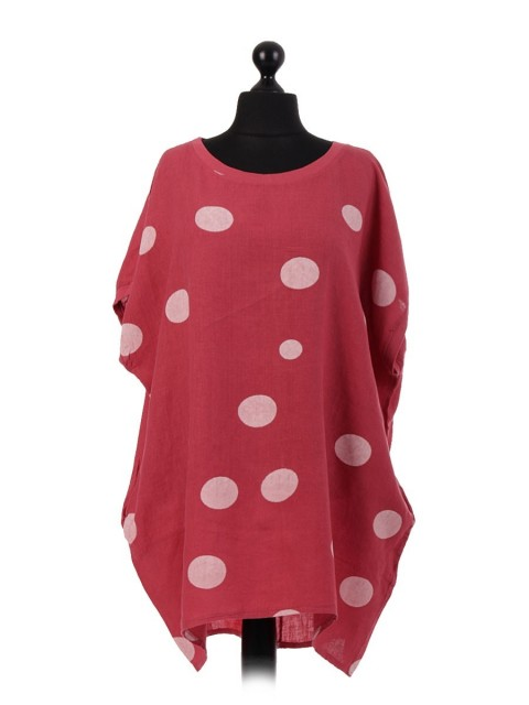 Italian Polka Dot Linen Top