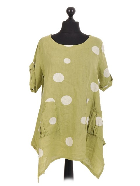 Italian Spot Printed Pleated Pocket Tunic Top