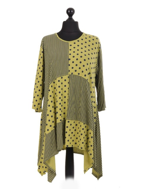 Spots And Stripes Print Oversized Waterfall Tunic