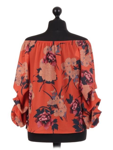 Italian Stem Floral Bardot Blouse Top