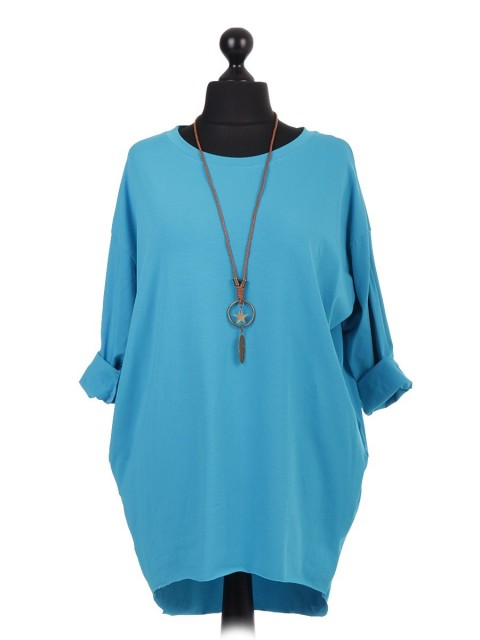 Italian Turn-up/Full Sleeve Dip Hem Tunic Top