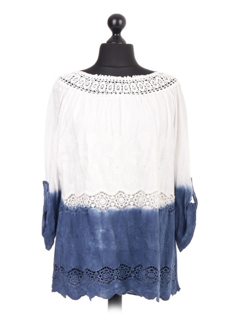 Italian Crotchet Lace Turn up Sleeve Top