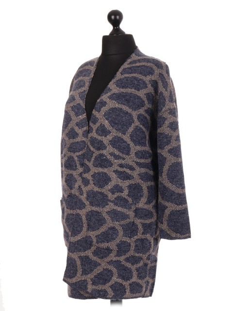 Ladies Open Front Lagenlook Cardigan With Pockets