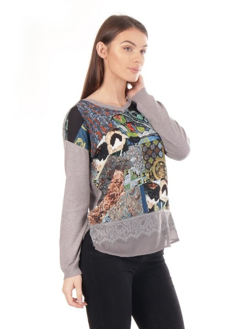 Ladies print pattern Lace Trim Jumper Top