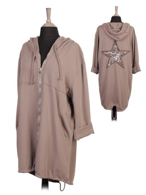 Plus Size Italian Back Sequin Star Front Zipper Hooded Jacket