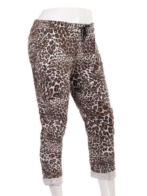 Plus Size Italian Leopard Print Magic Pants