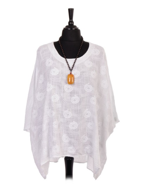 Plus Size Italian Linen Embroidered Batwing Dip Hem Top with Necklace