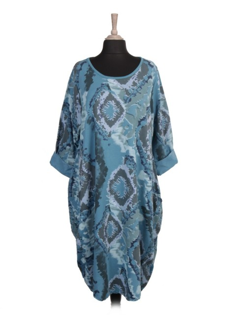 Plus Size Italian Printed Front Pockets Lagenlook Dress