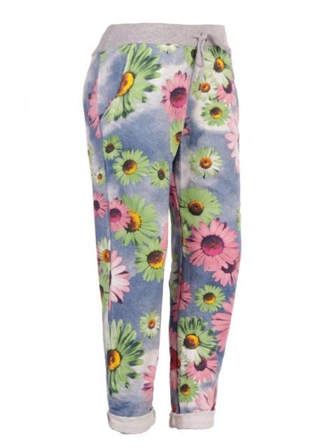Plus Size Italian Sunflower Print Cotton Trouser