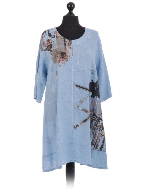 Print Applique Embroidered Linen Tunic