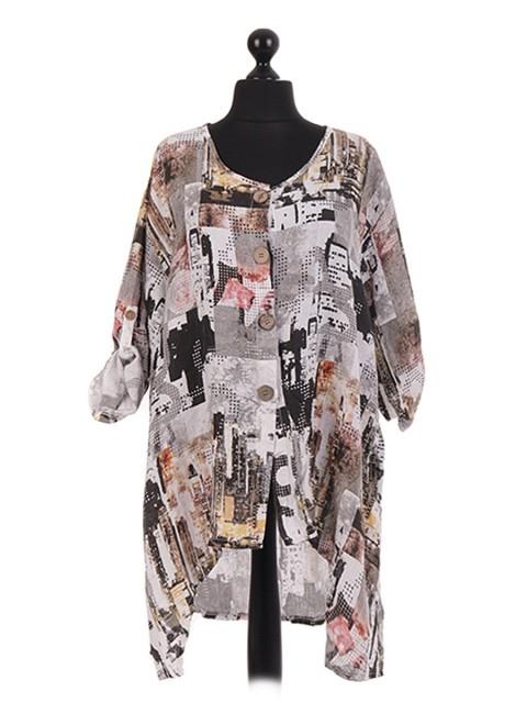 Italian Printed Dip Hem Shirt Dress