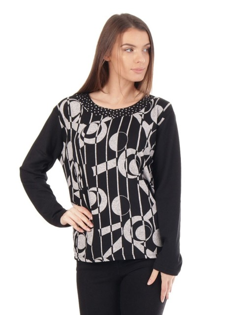 Printed loose Neckline jumper top