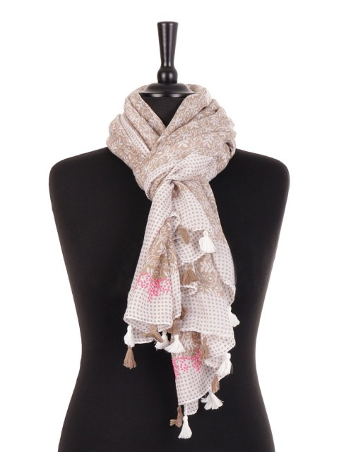 Summer Scarf With Diamante And Tassels
