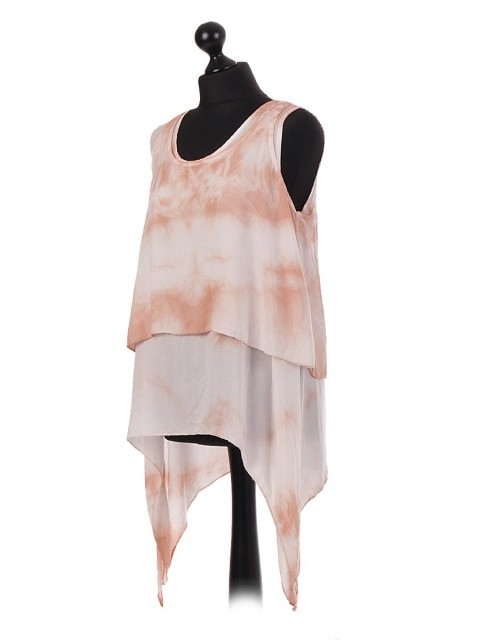 Italian Two Piece Tie-Dye Layered Tunic Top