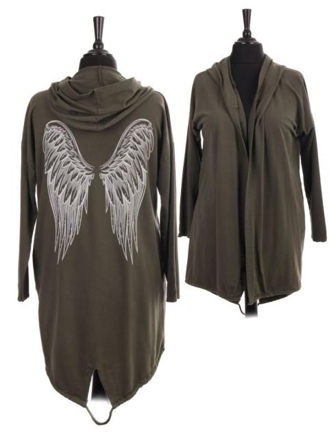 Italian Gathered Hem Angel Wing Back Hooded Jacket With Side Pockets