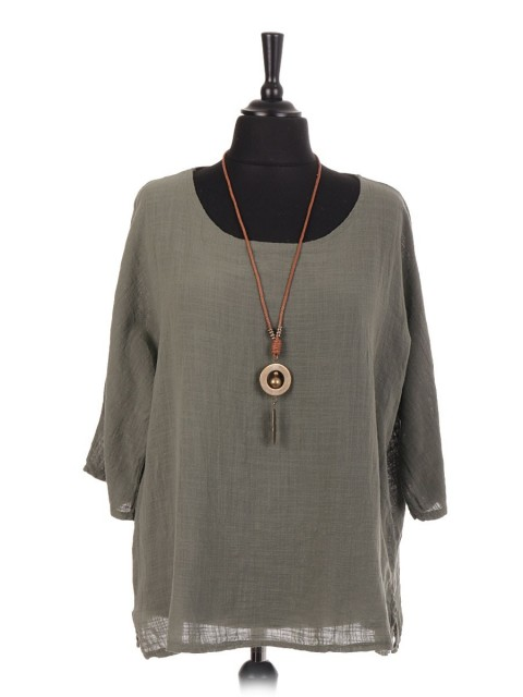 Italian Cotton Over Sized Top With Necklace