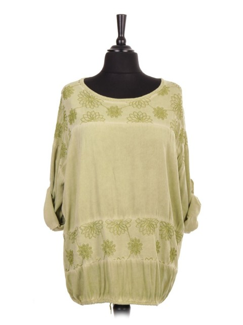 Italian Gathered Hem Embroidered Panel Top