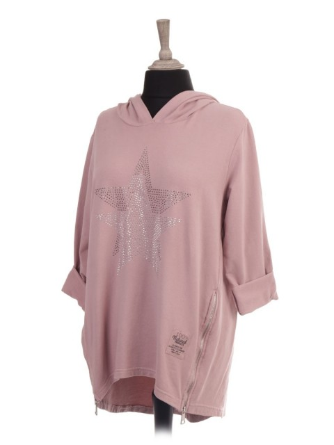 Italian Hooded Diamante Star Top With Side Zip Details