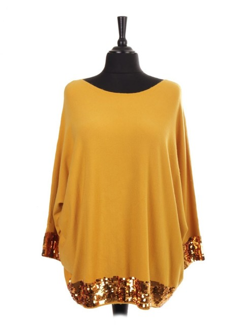 Italian Knitted Batwing Jumper With Arm And Hem Sequin Detail